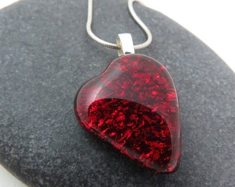 Bold Red Heart - Handcrafted Glass Heart - Heart Necklace - Love Necklace - Ready to Ship
