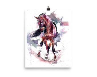 no. 6 dressage hore watercolour painting glicee print