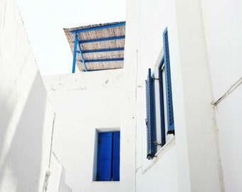 "Greece travel photography - cobalt blue white wall art - minimalist modern white architecture art print ""Blue Veranda"""