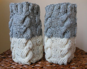 Hand Knitted Boot Cuffs Leg Warmers 2in1 Cream and Grey Tweed