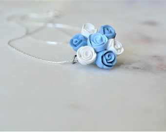 Handmade romantic jewelry, Wedding jewelry,, Something blue something borrowed something new, Spring jewelry, Original gift for her, Roses