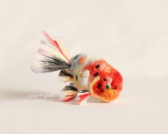 """Needle felted goldfish""""Calico Ranchu"""""""