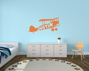 Personalized Name Kids Wall Decal - Airplane Name Decal Plane Decal Vinyl Wall Art Kids Room Teen Name Vinyl Wall Decal - Nursery Wall Decor
