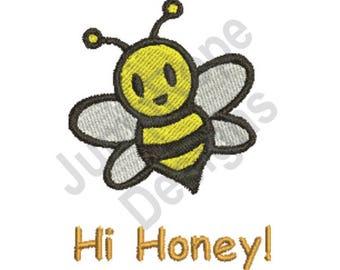 Hi Honey! Bumble Bee - Machine Embroidery Design