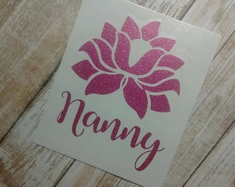 Lotus Flower Decal/Lotus Flower Monogram/ Monogram/Decal/Vinyl Decal/ Name Decal/Flower Decal/ YETI Cup Decal/Mothers Day Gift/Birthday Gift