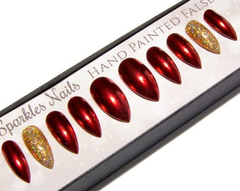 Red Chrome Nails - Stiletto Fake Nails - Christmas False Nails - Pointy Glue On Nail Glitter - Claw Press On Nails - Petite Artificial Nails