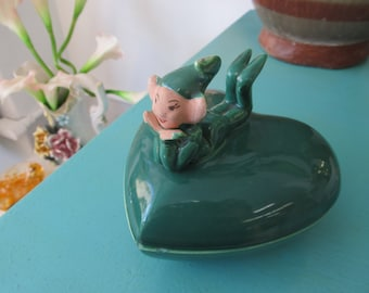 Vintage Green Ceramic Heart Shaped Pixie Dish with Lid