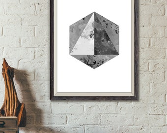 Hexagon Black and White Print, Triangle Art, Hexagon Watercolor, Simple Art, Geometric Print, Nordic Design, Modern Art (No A0228)