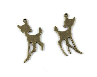 Set of 2 large charms bambi metal color bronze