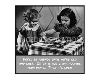 Magnet - We'll be friends until we're old and grey. Or until ... - Retro Girl Friend Gift Funny Humor Friendship Vintage