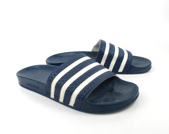 Adidas Sandals Vintage 1990s Shoes Slides Stripe Rubber Soccer men's size 12