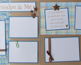 Premade 12x12 Scrapbook Pages -- MY GRANDPA & ME -- 12x12 Layout - family love, grandfather, papa, boy, baby boy, grandparent, 1st year