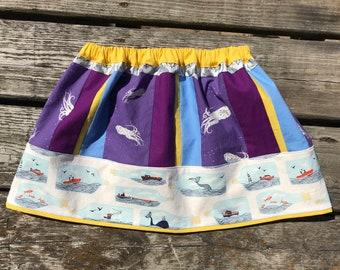 Boat skirt, octopus skirt, girls size 6, girls size 7