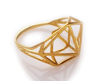 Geometric Ring, Architectural Structure Ring, Minimal Jewelry, Bridal Jewelry, Unique Ring, Gifts for Her, Brass Ring, Gold ring