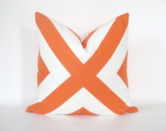 Pillow Cover Mitered X Orange & White Stripes Indoor Outdoor