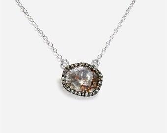 14K Slice Diamond Solitaire Pendant Necklace
