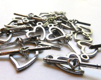 20 Silver Toned Heart Toggle Clasps - Lightly Oxidized - Valentine's Toggles - Jewelry Making Findings - Bulk Lot Toggles - Bracelet Clasps