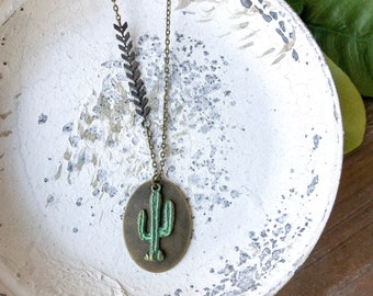 Cactus necklace // green cactus charm // aztec necklace // southwest necklace // succulent charm // boho style necklace // // gift for her