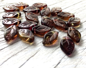 Glass leaf beads- Czech Glass Leaves-  Olive Amethyst pack of 20