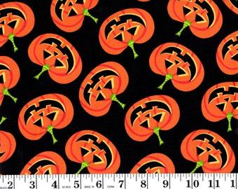 1 Yard, Jack-o-lanterns on Black Brother Sister Design B34-EIYD-P17