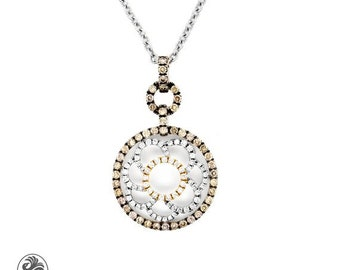 Flower Diamond Pendant, Diamond Flower Pendant, Brown Diamond Flower Pendant, Light Brown Diamonds, Pendant With Flower Design | NEC02044