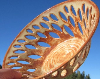 Bowl with Hand Carvings - Handmade Pottery
