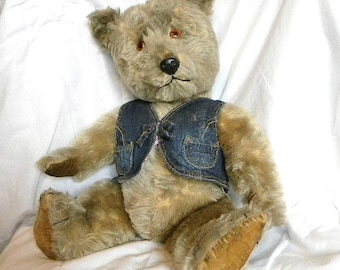 "Chiltern Bear 21"" - 1960's Mohair Teddy with Working Squeaker - Antique Teddy Bear"