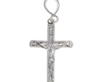 ON SALE Sterling Silver .925 Crucifix Tube Cross Charm Pendant Necklace | Made in USA