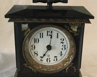 Antique Metal Mantle Clock