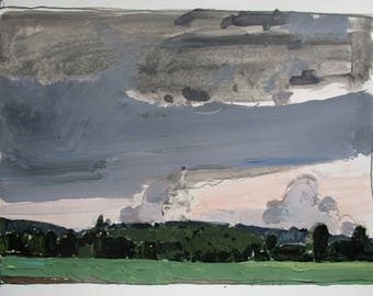Canada Day Showers,  Original Plein Air Landscape Painting on Paper, Stooshinoff