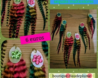 6 pendants feathers multicolored sequins