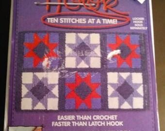 "On Sale Wonder, Fast Rug Hooking, Hook, Ten Stitches at a Time, Star Hook Rug Kit, Wonder Kit, 16"" x 28"", Star Quilt Blocks, Locker Hooking"
