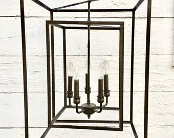 Large Wrought Iron Cube Chandelier