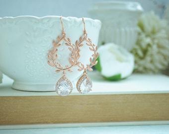 Rose Gold Laurel Wreath Earrings Lux Cubic Zirconia Earrings Rose Gold CZ Dangle Earrings Wedding Earrings Bridal Earrings, Bridesmaids Gift