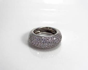 Magnificent pave diamond 18kt gold bombe ring