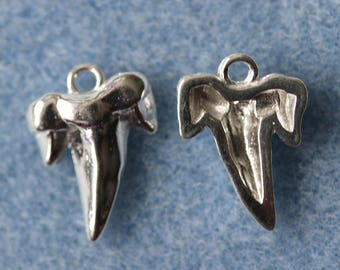 Sterling Silver Shark Tooth Charm/Pendant in Packs of One and Two