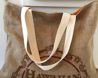 Hawaiian Queen Coffee burlap tote/ Market Bag/ Beach Bag