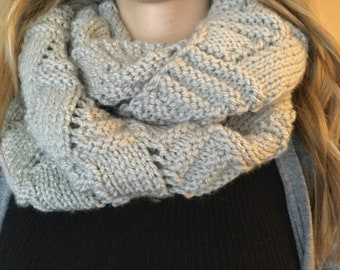 hand knit gray infinity scarf