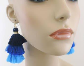 Tassel Earrings - Tiered Tassel Earrings - Statement Earrings - Blue Earrings - Navy Blue - Long Earrings - Gold Earrings - handmade