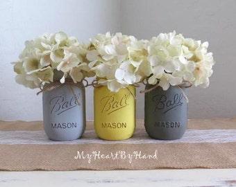 Rustic Mason Jars, Home Decor, Painted Mason Jars, Yellow And Grey, Bathroom