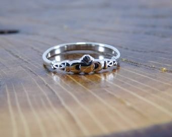 Thin Sterling Silver 925 Claddagh Ring,  Promise Ring, Pinky Ring, Dainty Claddagh Ring