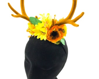 Beautiful deer stag horn flower crown Handmade by Asbeau *yellow orange*