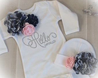 Hello World Coming Home Outfit, Hello World Newborn Layette, Baby Girl Coming Home Outfit with Denim And Rhinestones