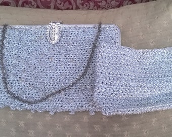 Silver 1960's evening bag