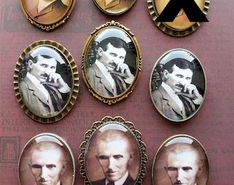 Vintage Nikola Tesla Steampunk Victorian Edwardian Cameo Brooch