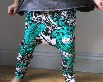 Tropical print baby drop crotch harem pants / boho kids clothes / toddler harem / boys harems - skinny leg fit
