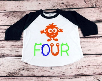 Monster 4th Birthday Shirt, Toddler Boy Birthday, Boy Fourth Birthday, Birthday Party Shirt, Four Birthday Shirt, 4th Birthday Boy, Boy Four