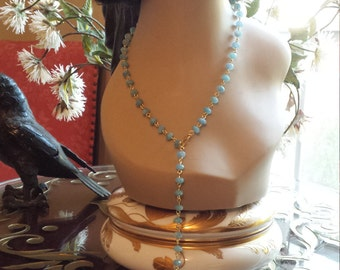 Aquamarine 8mm long adjustable necklace