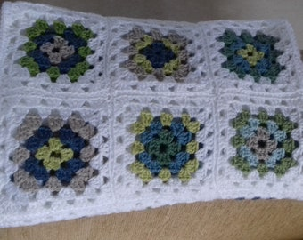 Granny squares crochet baby cot blanket/throw in blues/greens