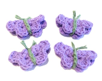 Itty Bitty Purple Crocheted Butterfly Make-Up Removers-Set Of Four